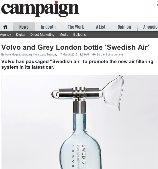 "Volvo and Grey London bottle ""Swedish Air"""