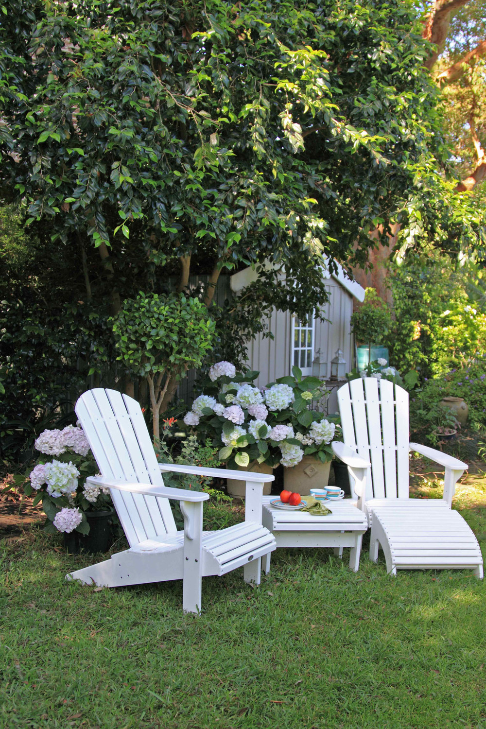 Adirondack chairs in garden