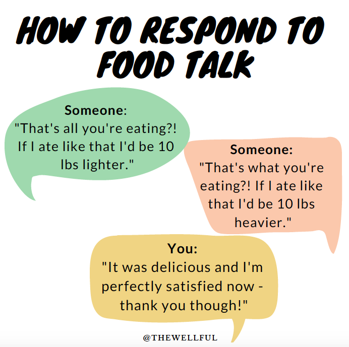 How to Respond to Food Body Talk - Holidays @thewellful thewellful.com
