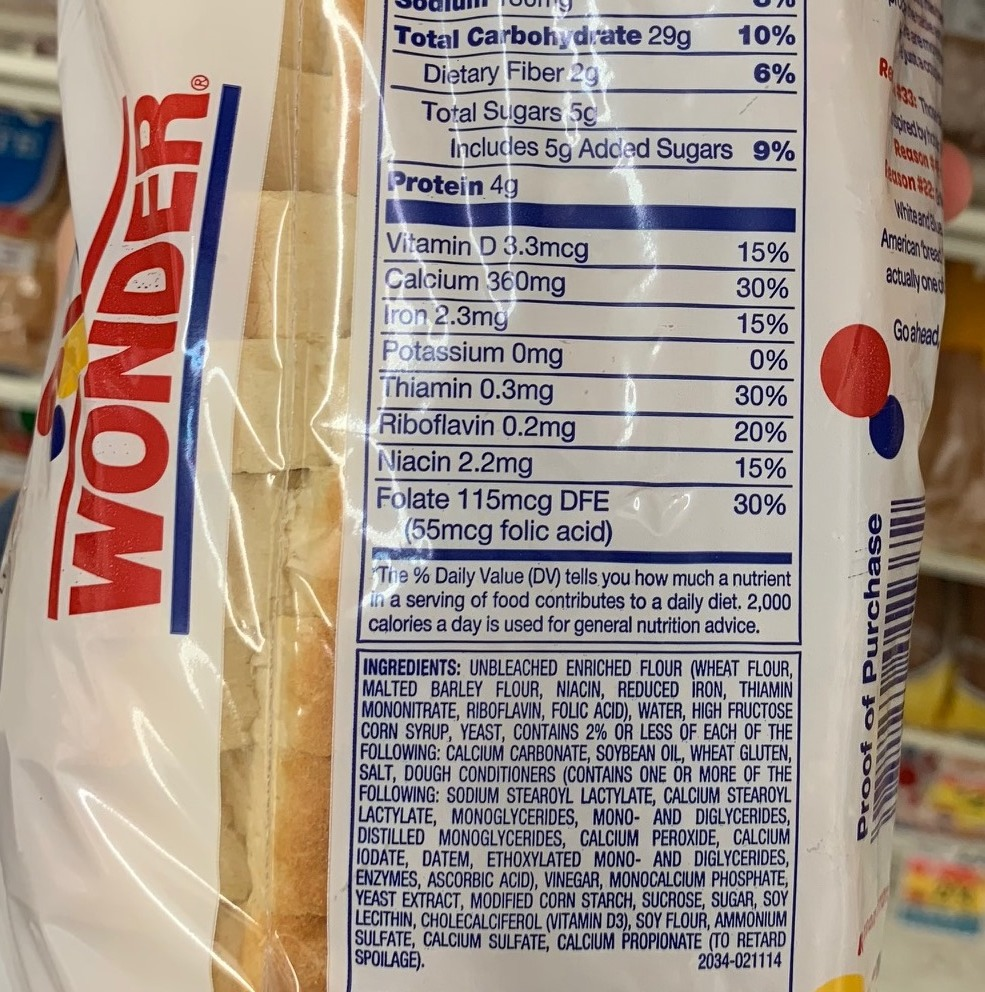 Wonder Bread Classic White Nutrition Information