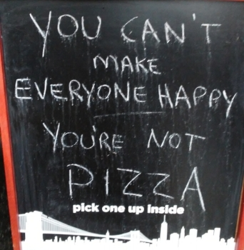 The sign outside of the pizza place where we ate.