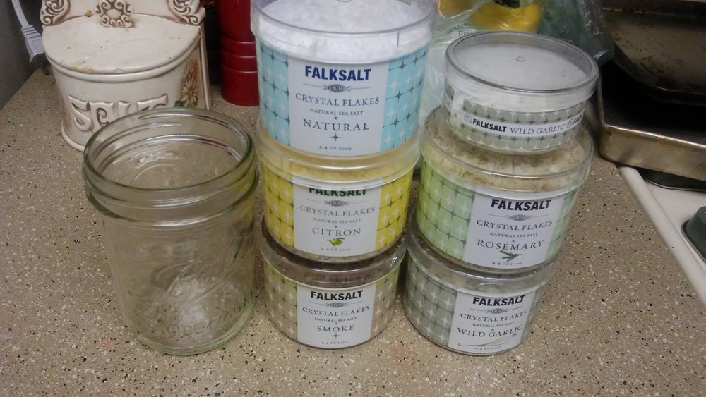 Falksalt canisters beside a pint Mason jar
