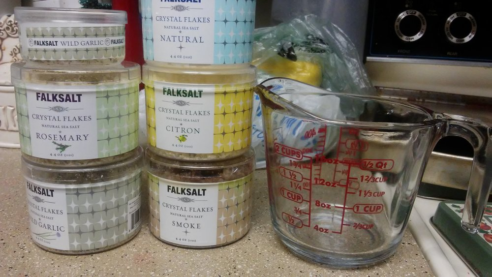 Falksalt next to pint measuring cup