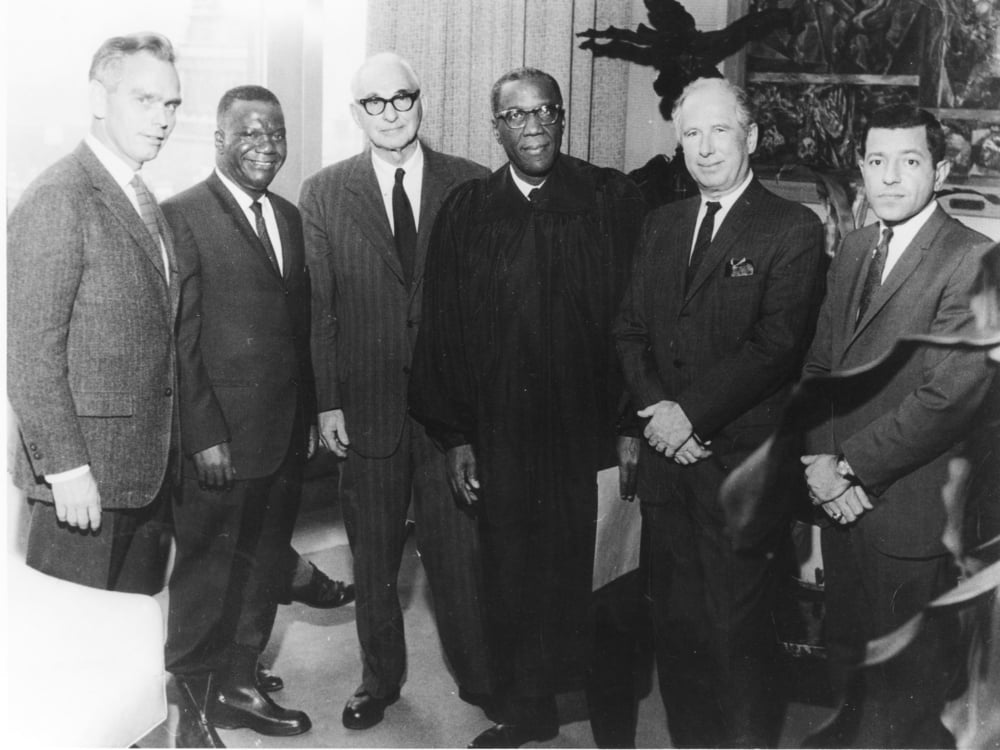 In 1966, celebrated George Crockett's inauguration as Recorders Court judge with members of the Goodman firm. From left are: Dean Robb, Robert Millender, Sugar, Crockett, Ernest Goodman and George Bedrosian.  Photo: Walter Reuther Library, Wayne State University