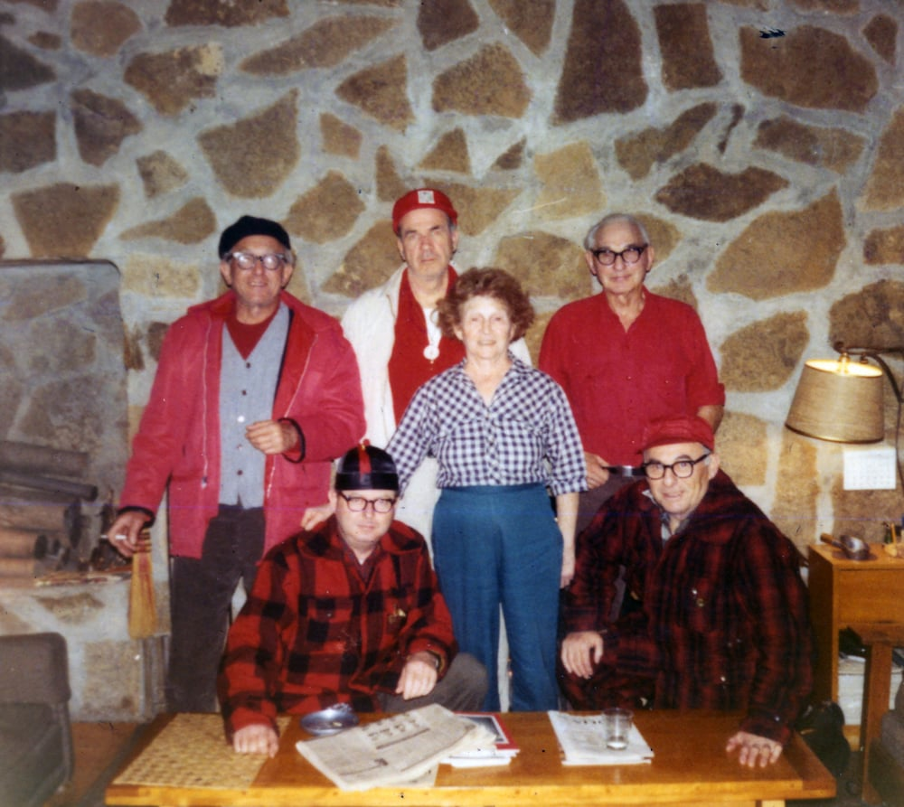 Early Buck Dinner regulars gathered at Black Lake in 1969, left to right standing: Ned Smokler, Mort Furay, Jane Sugar and Maurice Sugar. Seated, left to right: Max Dean and Sid Rosen.   Photo from the archives of Ernie Goodman family