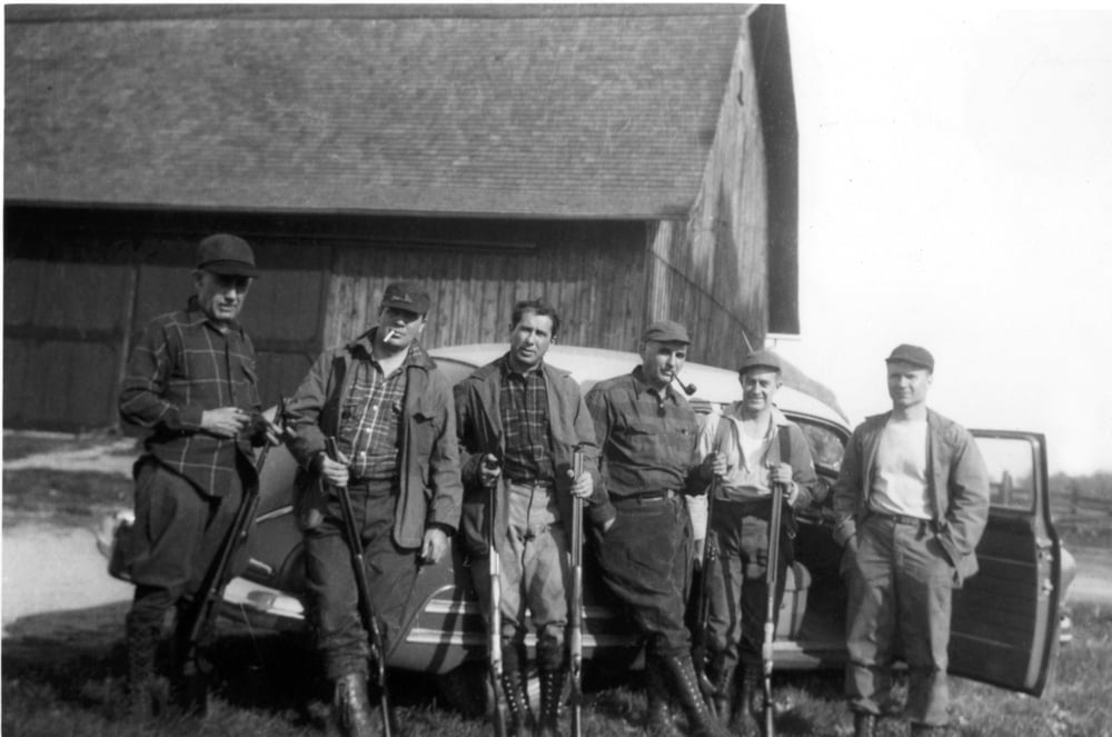 In 1944, Buck dinner hunters (second from left to right) Mort Furay, Ernie Goodman and Maurice Sugar were joined by many friends.   Photo from the archives of Ernie Goodman family