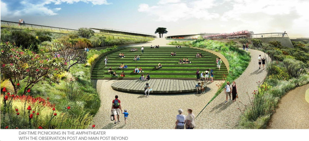 Terraced gardens, seating for outdoor theater