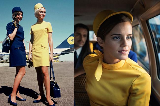 左は1970年代のルフトハンザの制服。右は映画のエマ・ワトソン。