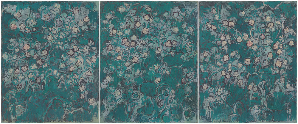 微風花草1207 ---庭園 flowers in breeze ---garden 162x390cm 油彩 畫布oil  on canvas 2012.jpg