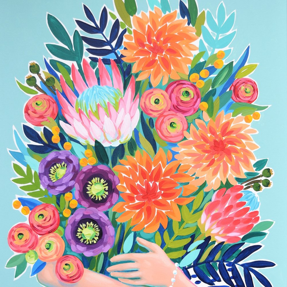 Julie Marriott - Julie is a painter and pattern designer living in San Diego, California. Her work focuses on bold floral arrangements full of color and expressive brush strokes. She shares her passion for art through acrylic workshops, and through creating paintings and patterns that bring joyful color into your home.