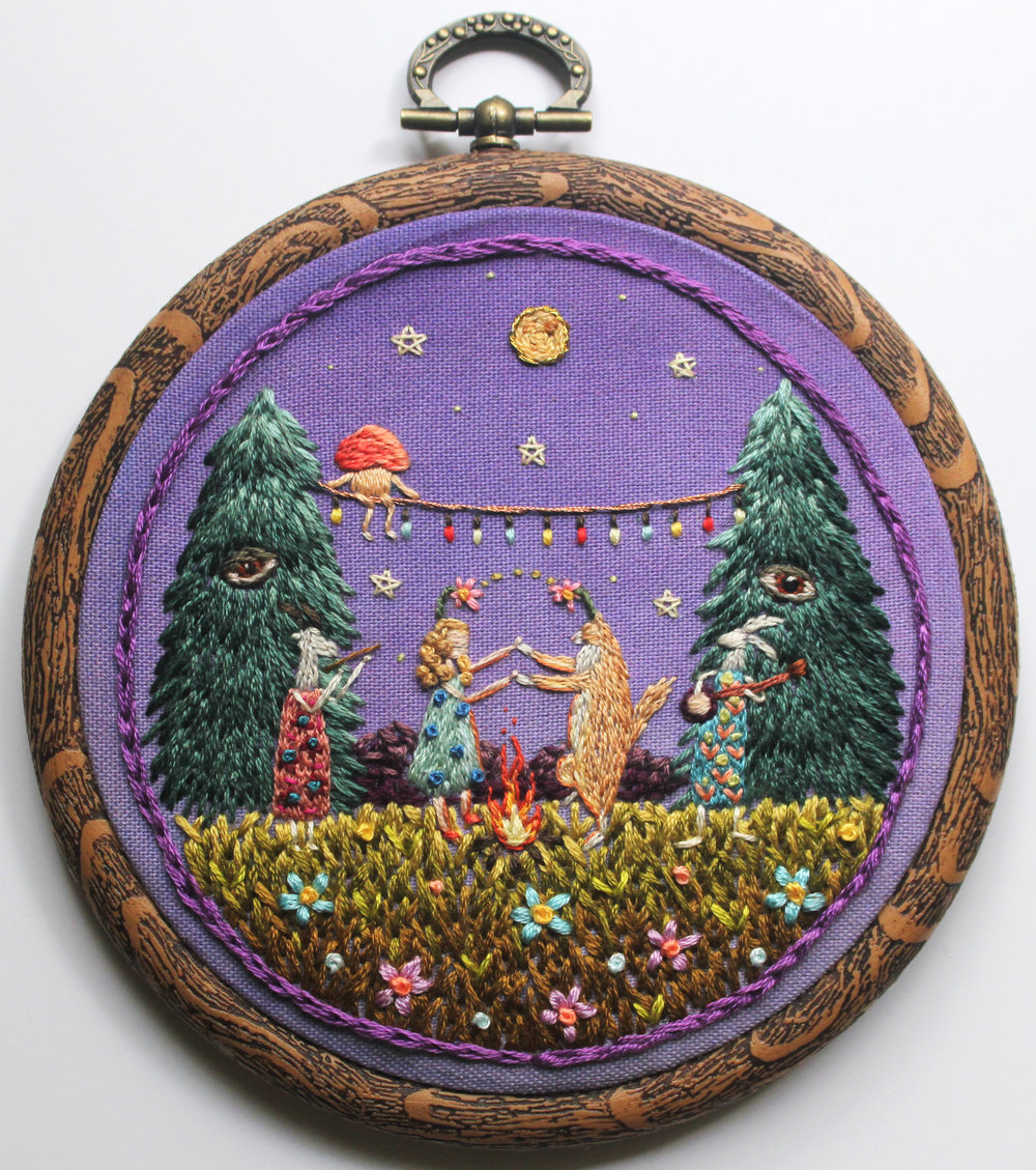 Irem Yazici, Celebration in the Forest, 2016, 4''x4'', Hand Stitch.JPG