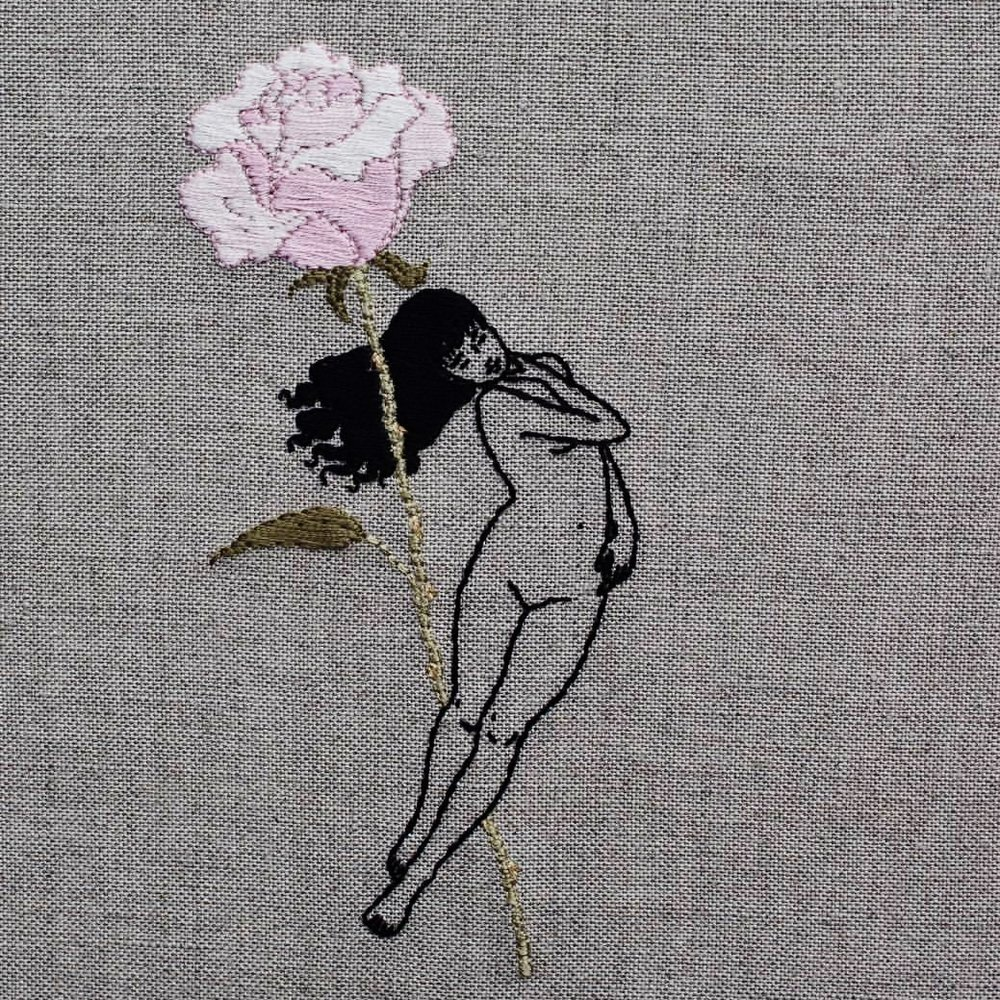 Adipocere - Adipocere, a self-taught hand embroidery artist, primarily creates their imagery for the therapeutic catharsis evoked through the medium. Their work focuses on displaying what they refer to as emotional self-portraiture while operating within the confines of a constantly developing, overarching fiction, one with small roots in reality but using motifs and symbolism to delineate concepts such as martyrdom, asceticism, existentialism, and the eventuality of death. Adipocere is inspired by their environmental science studies, focusing on misrepresented fauna and the point at which humanity intersects.