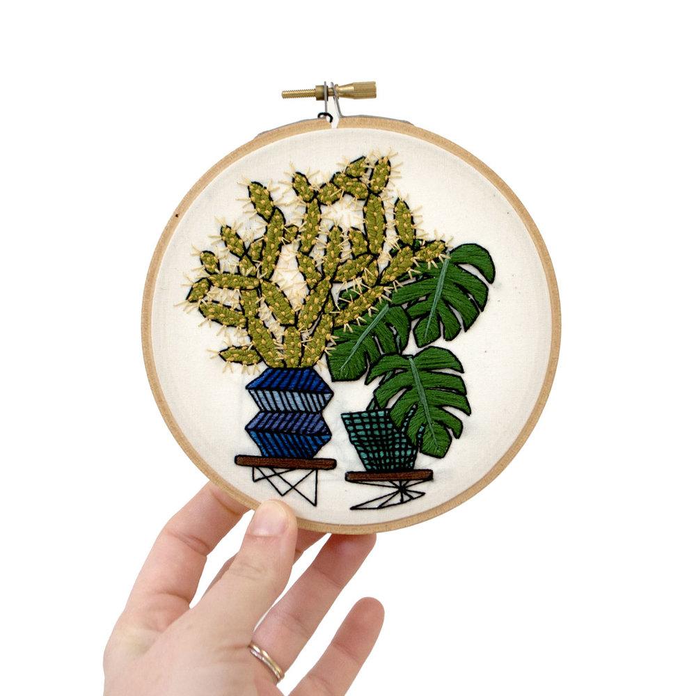 Monstera Stick Cactus 4 Sarah K Benning Contemporary Embroidery
