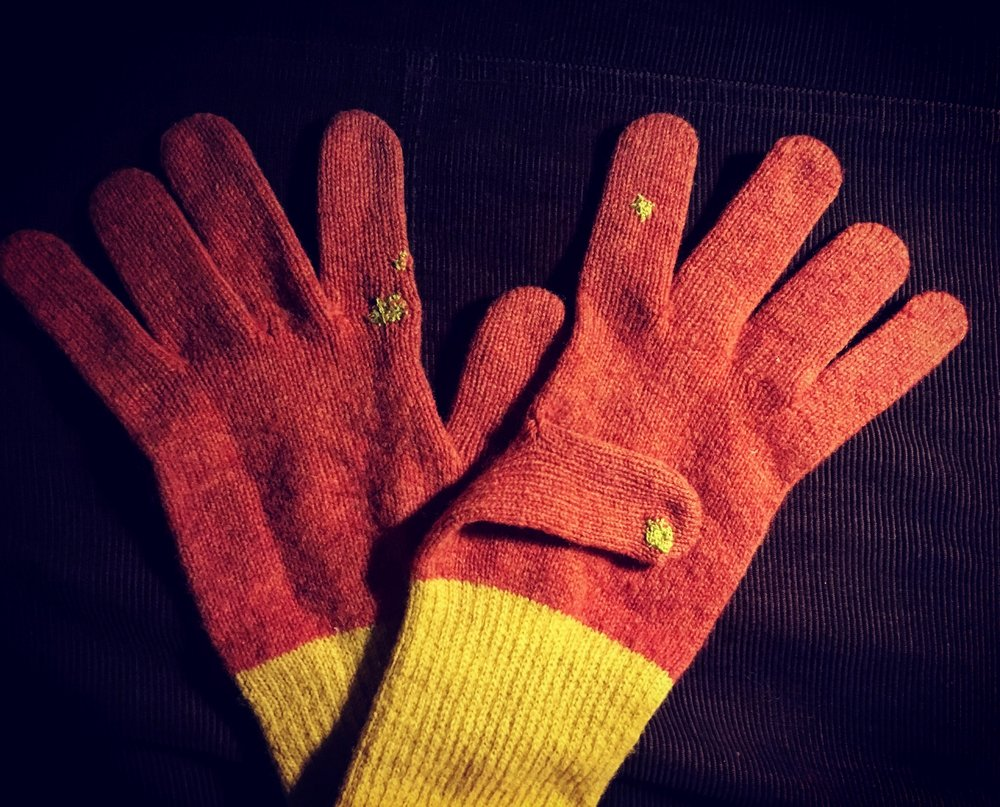 Alison's Gloves   - These machine knitted gloves had been nibbled by moths. I darned them with fine embroidery wool.
