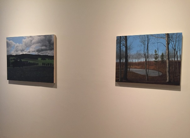 """Flight Into Egypt""  (2015), left, and ""The Three Graces"" (2015), oil on panel, by Eileen Murphy"