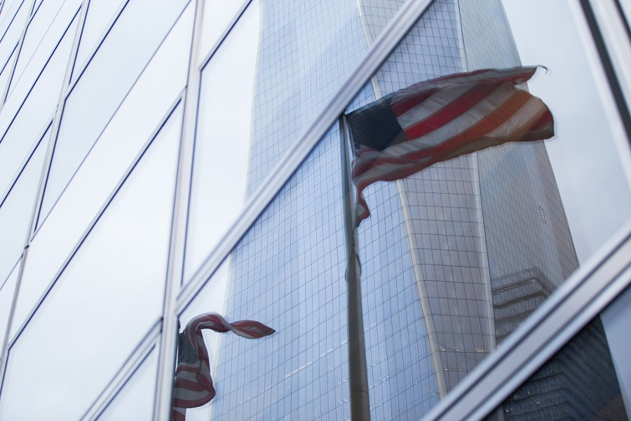 Freedom Tower and Flags Reflection