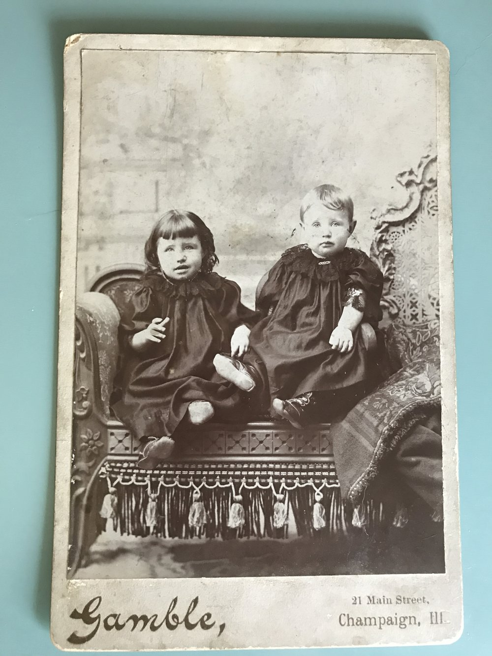 "This is a photograph of my maternal grandmother, Jenny Josephine Fisher Warner, and her sister, Edith Fisher Ludwig. I know nothing of their ""pack codes and tribal laws,"" but I'm sure they were fierce. I see my sons' faces in these young girls. The power of family...and genetics."