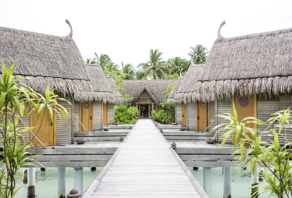 The spa - each hut is a massage room with peep whole to the sea, so you can relax and watch the fish swim by.