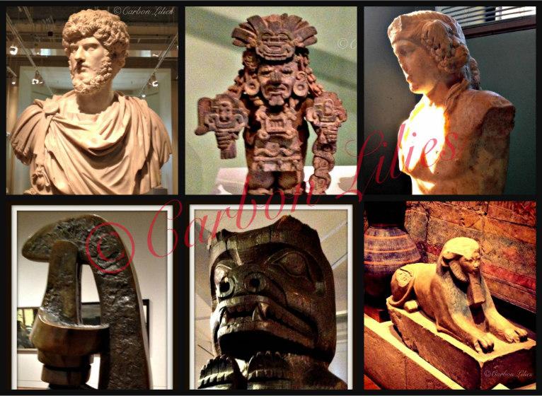 (Top L-R) Bust of Greek General, Cocijo - Mesoamerican Zapotec Deity, Dionysus - God of Wine (Bottom L-R) Sunbird II - Sorel Etrog, Oweekeno House Post, Sphinx