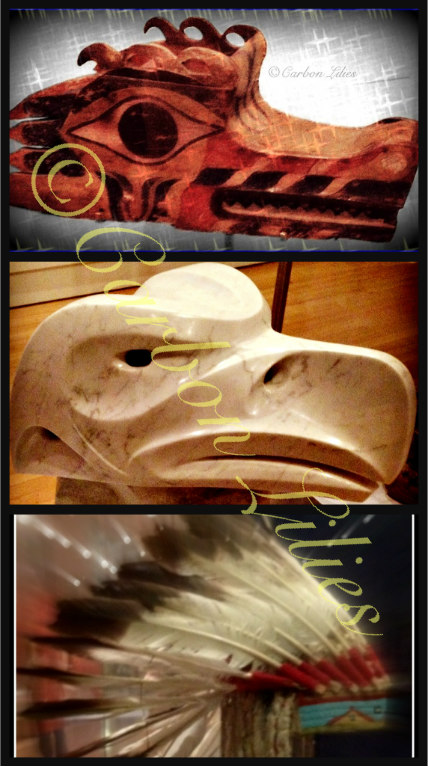 (Top – Bottom)Wolf Headdress - Lightning Snake, Iroquois Oral Tradition in Stone, Nightbird Golden Eagle Feather Headdress
