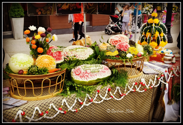 Fruit carvings by restaurant Bangkok Spoon Deluxe - we didn't eat here, but thoroughly admired this talent.