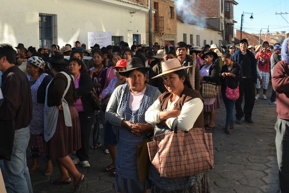 Women protesting on the street, during an anti-government march through Sucre.