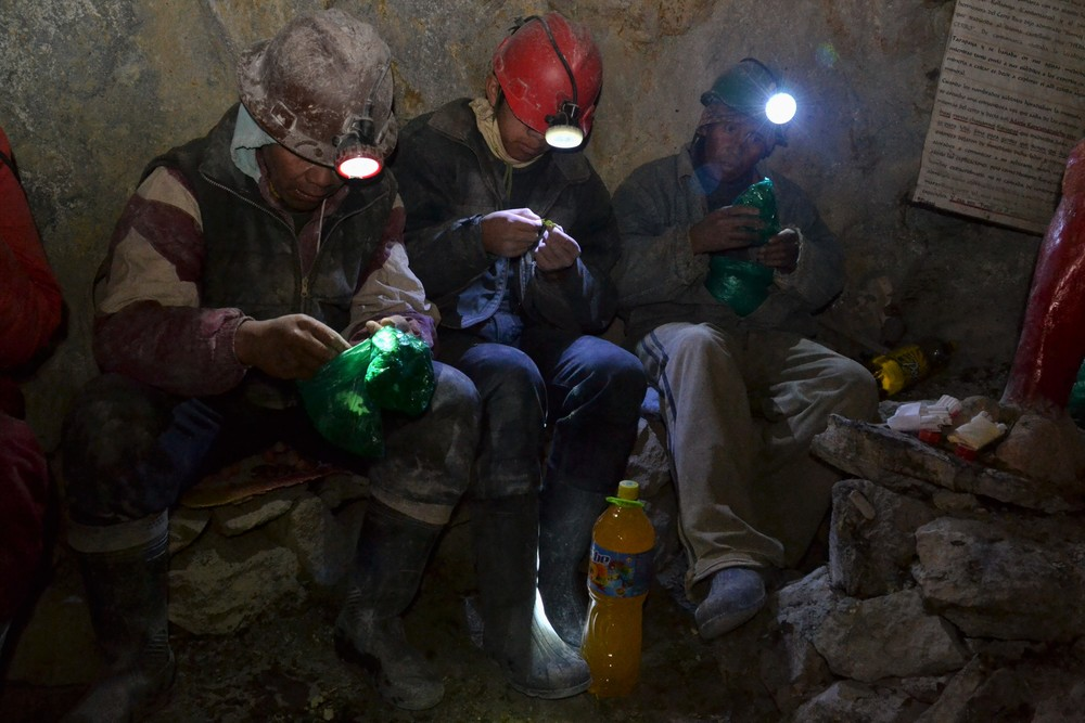 Miners eating coca leaves in Cerro Rico