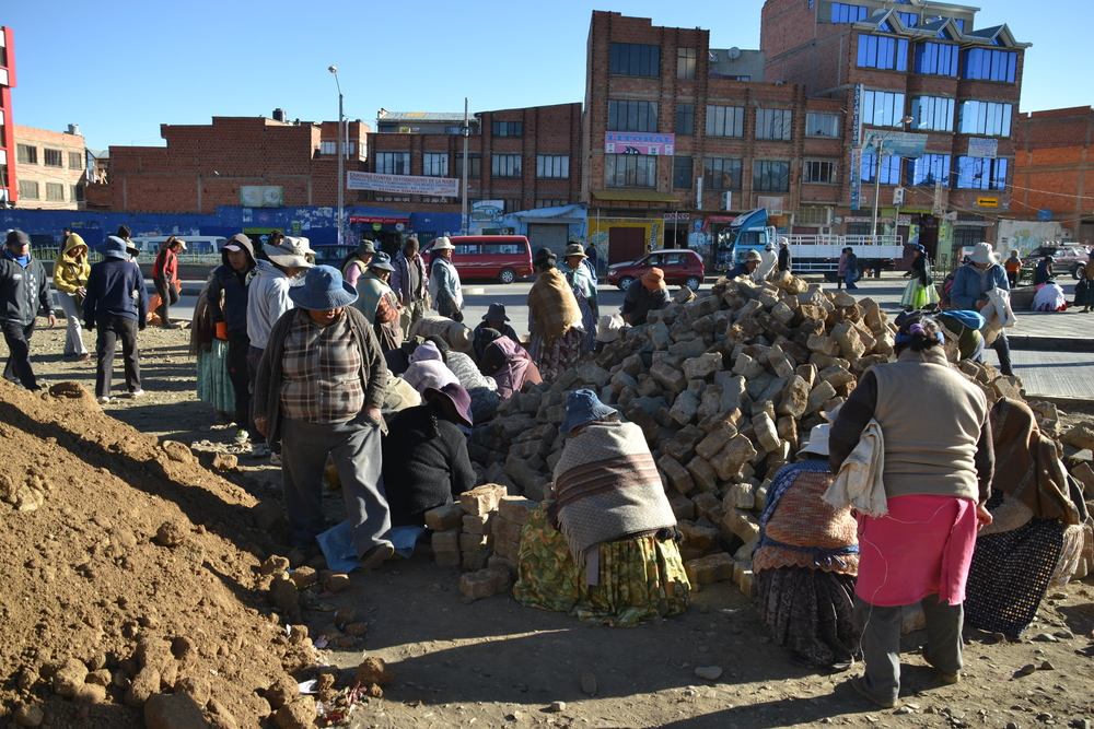 Citizens engaging in ad-hoc construction work in El Alto, a perennially unfinished neighbourhood in La Paz.
