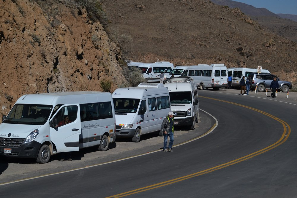 White vans in the Colca Canyon