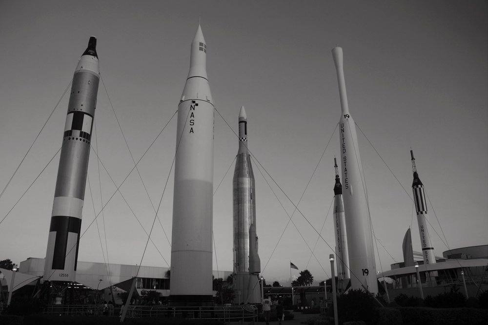 Obsolete rockets at Kennedy Space Center.
