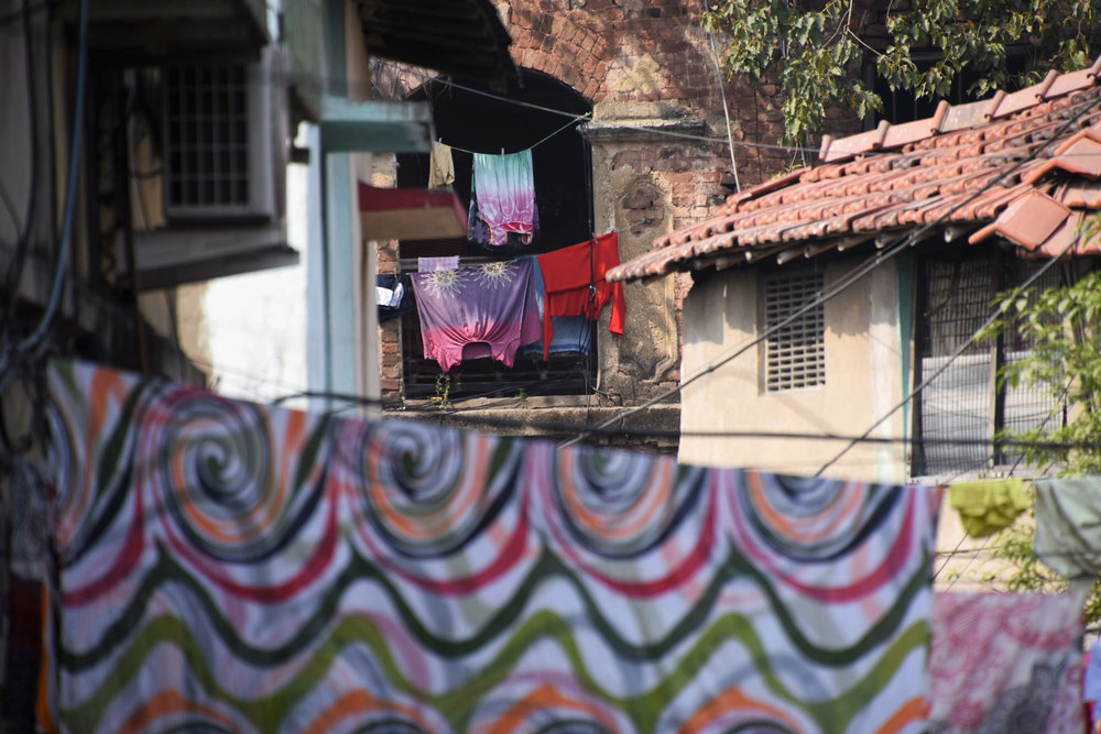 Colourful clothes left out to dry in Kolkata