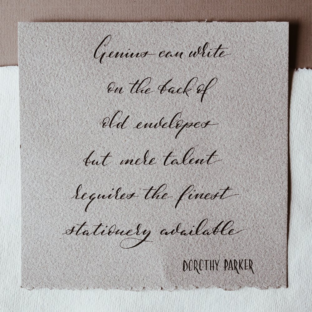 Quote written on Choosing Keeping paper. Backdrop handmade and grey paper from Paperchase.