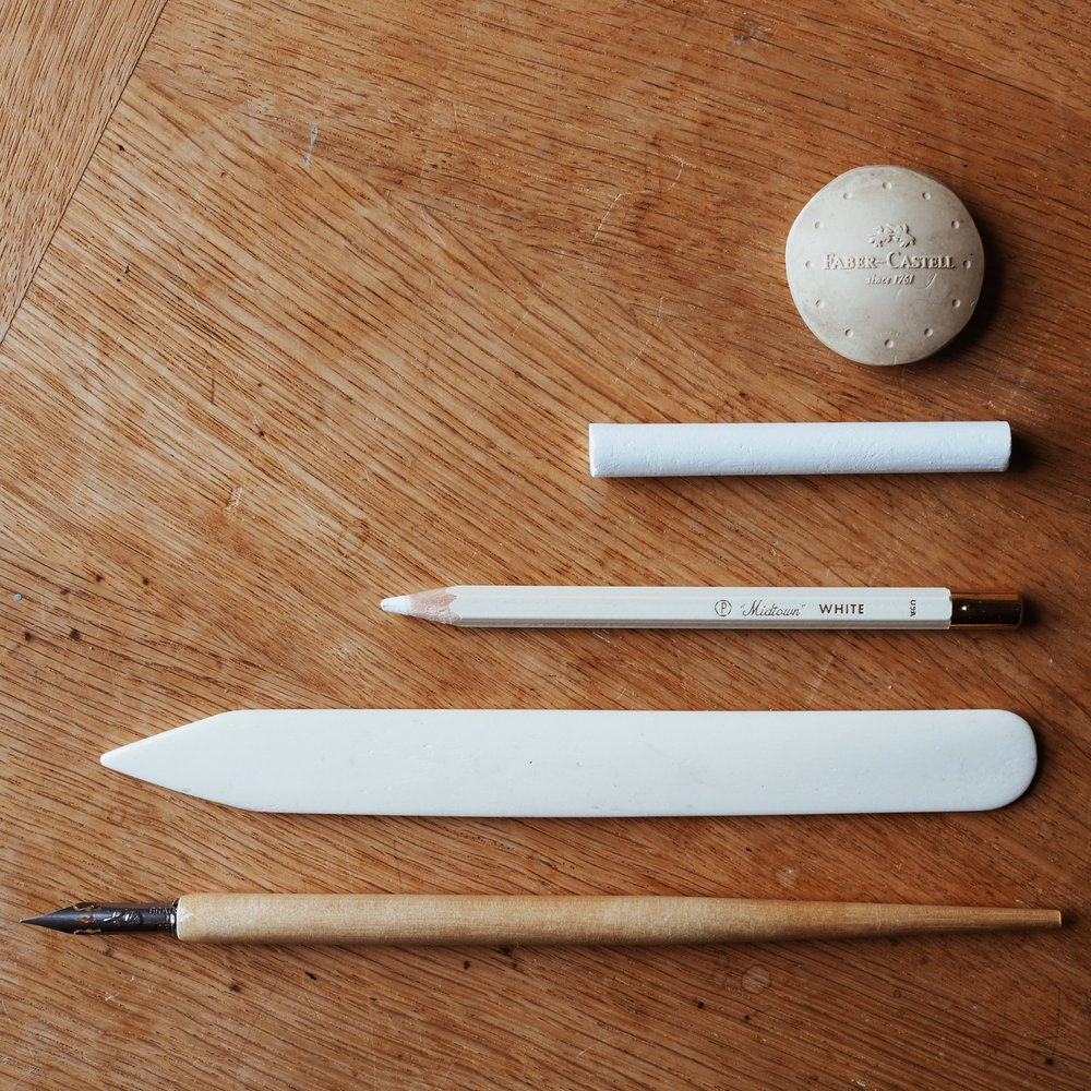 Desk tools in wood and white