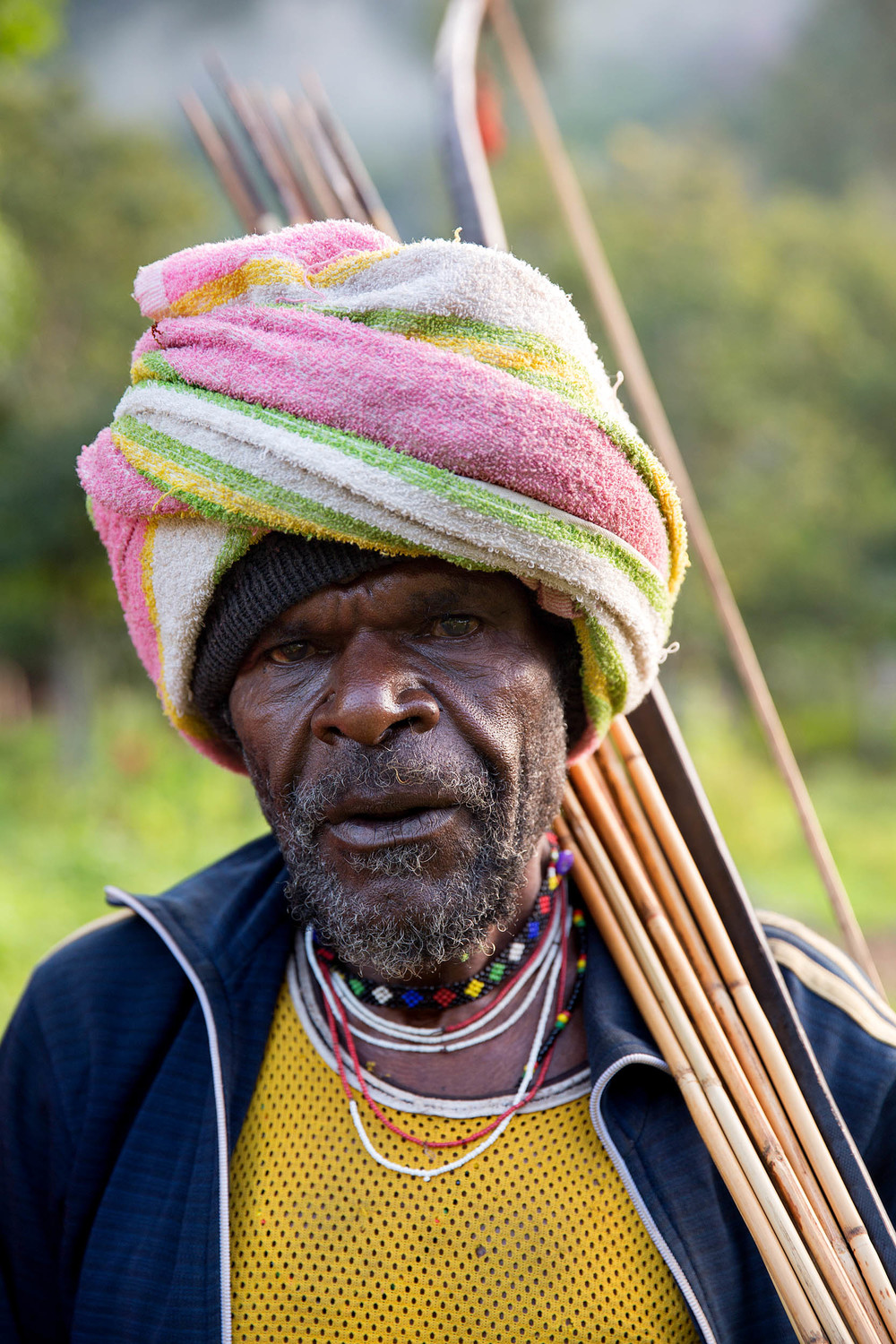 A villager armed with a bow and arrows.