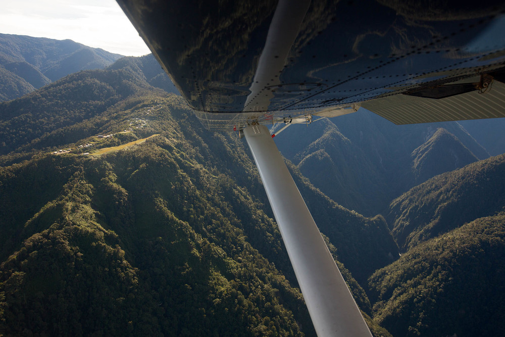 On approach to Idedua. Papuan villages are often built in inaccessible locations for defensive purposes. A throwback to days, not so long past, when tribal warfare, headhunting and cannibalism were common practice in the region.