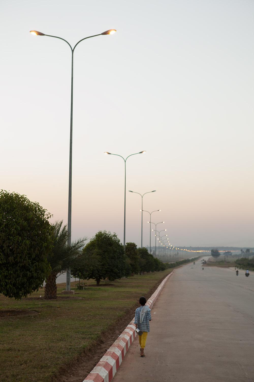 The long walk home at dusk.