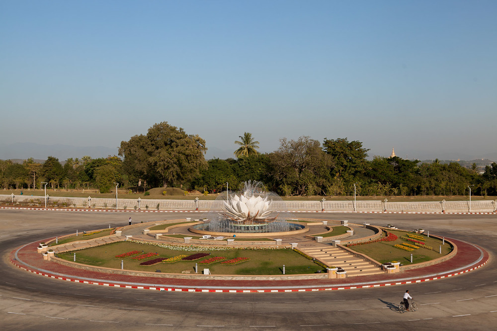 The Lotus flower traffic circle on Thingaha road.  All of Naypyidaw's traffic circles have flower themes.