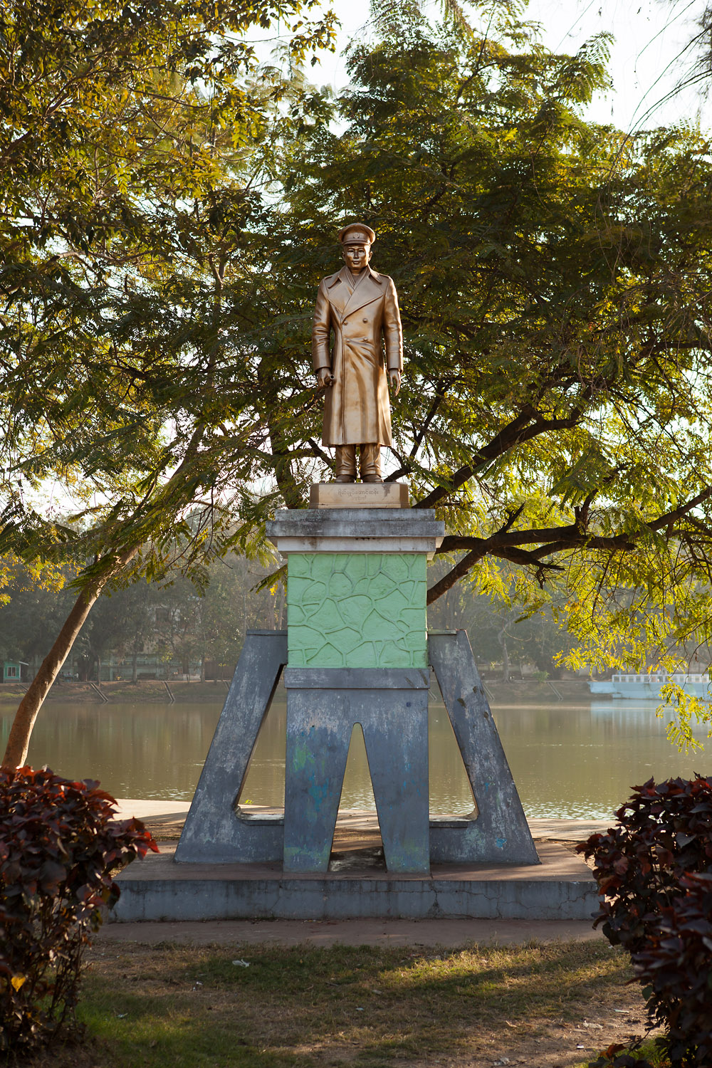 A statue of Aung San, who is considered the 'Father of the Nation' for his role in bringing about Burma's independence from British rule.  He is also the father of democratic opposition leader, Aung San Suu Kyi.