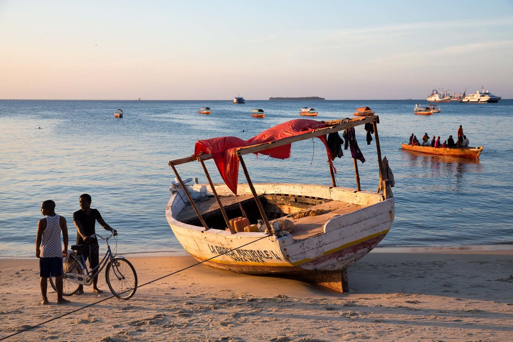 Daily life on the Beach in Old Town, Zanzibar.