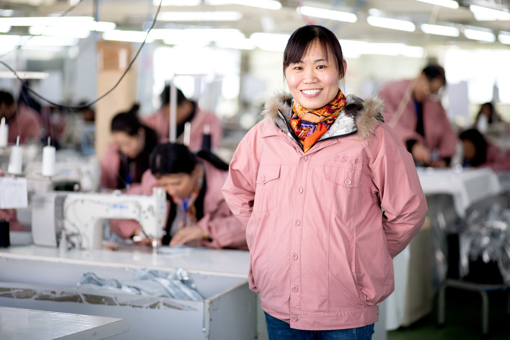 Portrait of worker in H&M factory in China.
