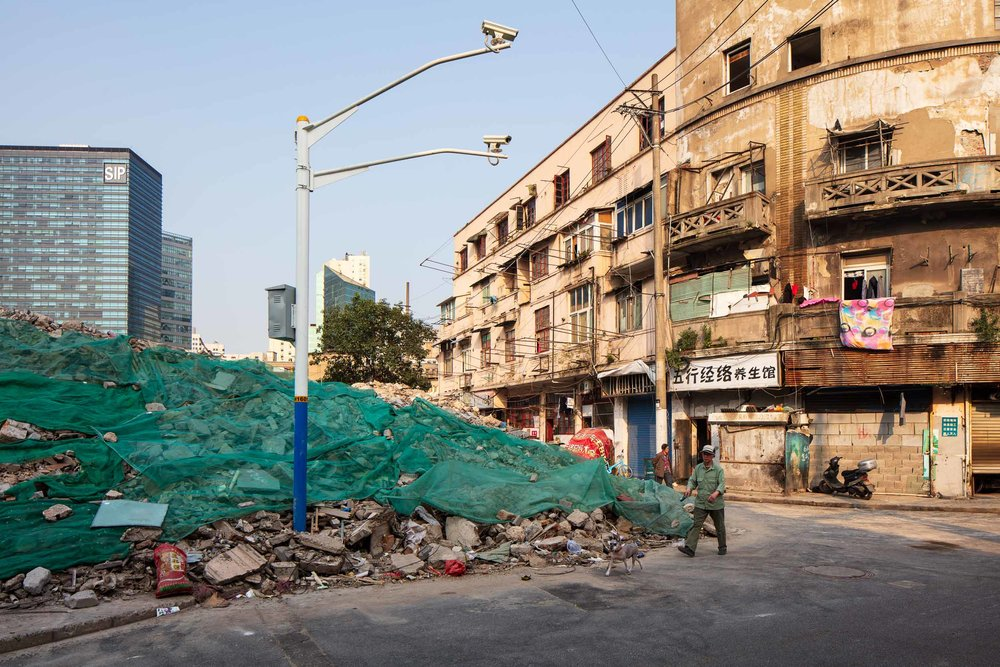 Historic architecture being demolished in Hongkou district, Shanghai, China.