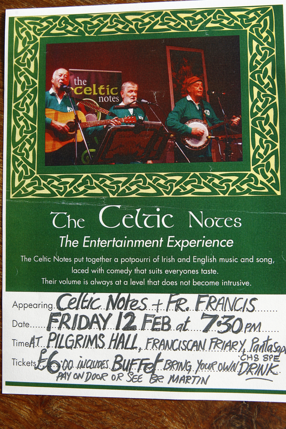 Why not join us here at St Pios Cafe for a fun night of entertainment?  The Celtic notes will be performing in the Pilgrims Hall with Fr Francis. For more information take a look at the event calendar.