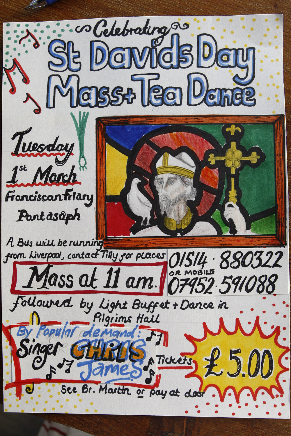 Celebrate St Davids Day in style at the Franciscan friary Pantasaph with a mass at 11am followed by a tea dance.   For more information have a look at events calendar.