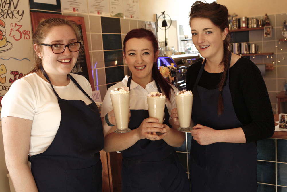 Georgie, George and Hannah, showcasing the launch of the milkshake menu. Well done girls.