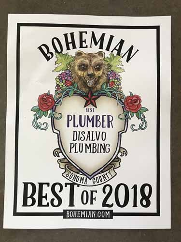 Best Plumber 2018 - DiSalvo Plumbing was voted best plumber of 2018 by The Bohemian's readers!
