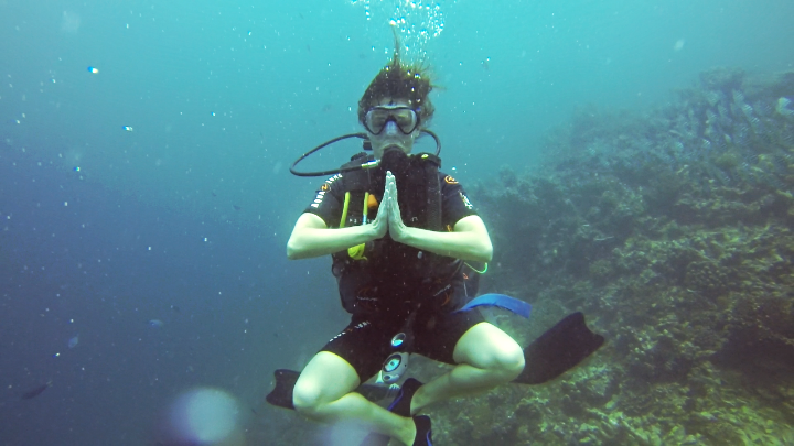 Going zen on a underwater shoot in Indonesia