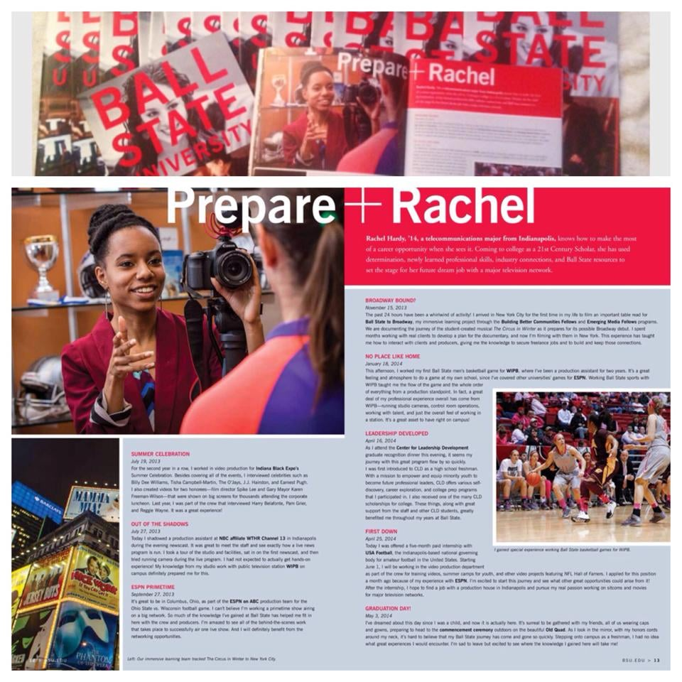 Two-Page spread Feature Ball State University produced on Rachel Hardy