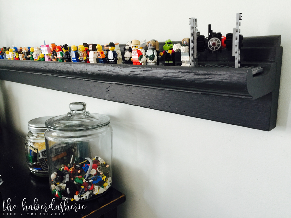 LEGO minifigure diy shelf storage — the haberdasherie