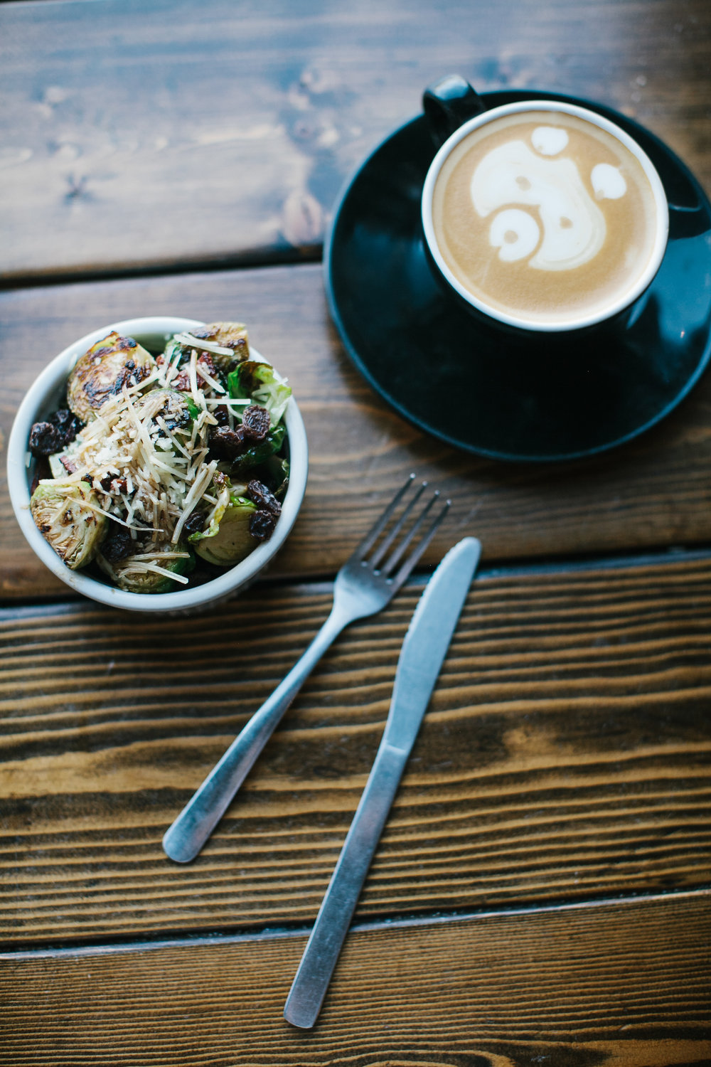 Brussels Sprouts Salad and latte.