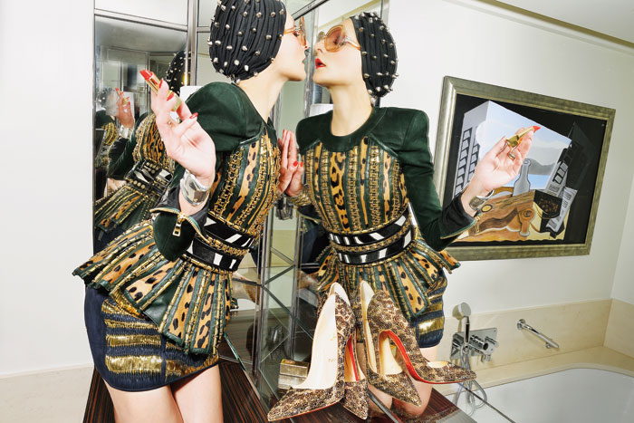 Fashion stylist and designer Catherine Baba.  Photo by Stephane Feugere for Paper magazine.
